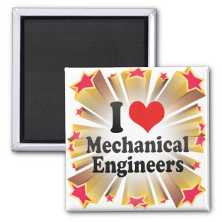 I Love Mechanical Engineers 2 Inch Square Magnet