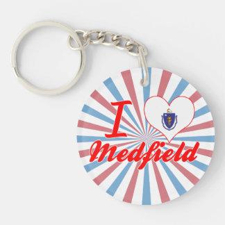 I Love Medfield, Massachusetts Single-Sided Round Acrylic Keychain