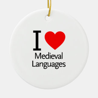 I Love Medieval Languages Double-Sided Ceramic Round Christmas Ornament