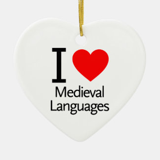 I Love Medieval Languages Double-Sided Heart Ceramic Christmas Ornament