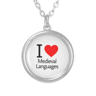 I Love Medieval Languages Round Pendant Necklace