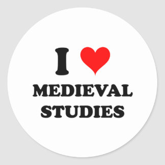 I Love Medieval Studies Classic Round Sticker