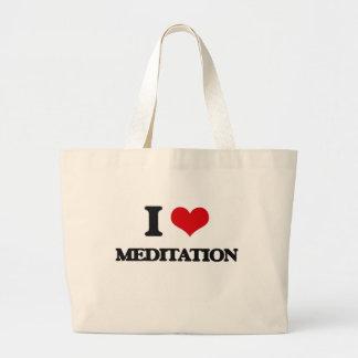 I Love Meditation Tote Bags
