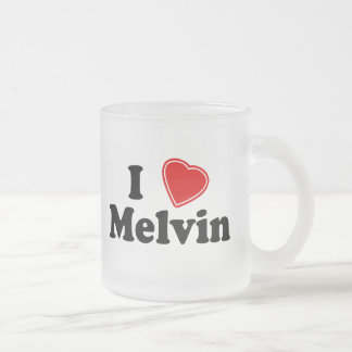 I Love Melvin Frosted Glass Coffee Mug
