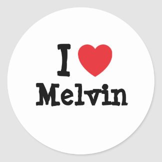 I love Melvin heart custom personalized Classic Round Sticker
