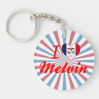I Love Melvin, Iowa Single-Sided Round Acrylic Keychain