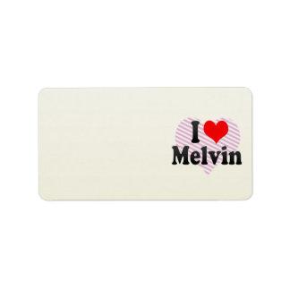 I love Melvin Personalized Address Label