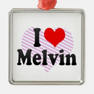 I love Melvin Square Metal Christmas Ornament