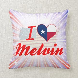 I Love Melvin, Texas Throw Pillows