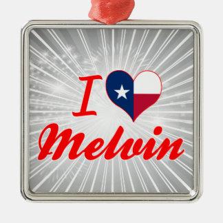 I Love Melvin, Texas Square Metal Christmas Ornament