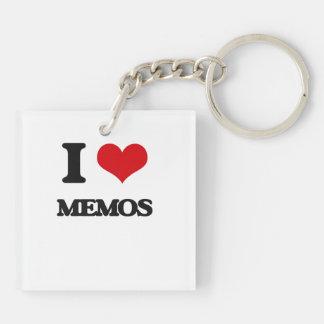 I Love Memos Square Acrylic Key Chains