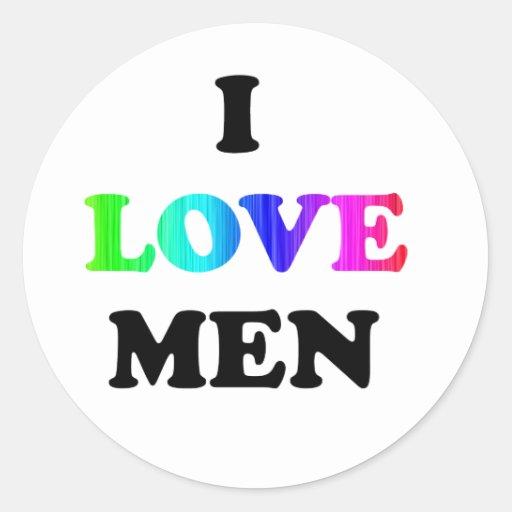 I Love Men Classic Round Sticker