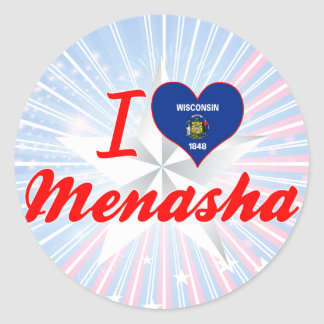 I Love Menasha, Wisconsin Classic Round Sticker