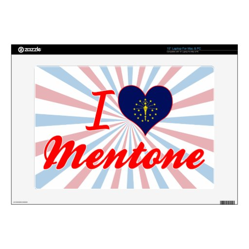 """I Love Mentone, Indiana Decal For 15"""" Laptop"""