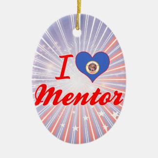 I Love Mentor, Minnesota Double-Sided Oval Ceramic Christmas Ornament