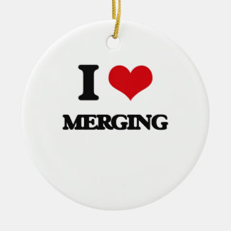 I Love Merging Double-Sided Ceramic Round Christmas Ornament