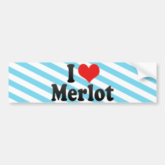 I Love Merlot Car Bumper Sticker