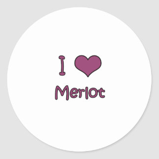 I Love Merlot Round Stickers
