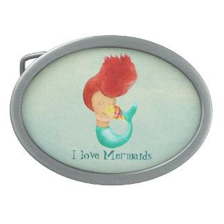 I love Mermaids Oval Belt Buckle