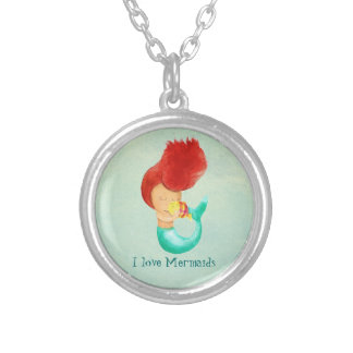 I love Mermaids Silver Plated Necklace