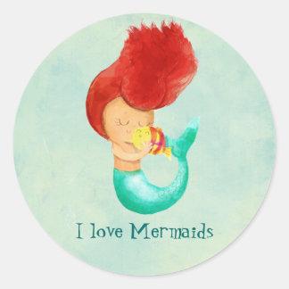 I love Mermaids Classic Round Sticker