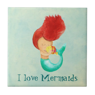 I love Mermaids Small Square Tile