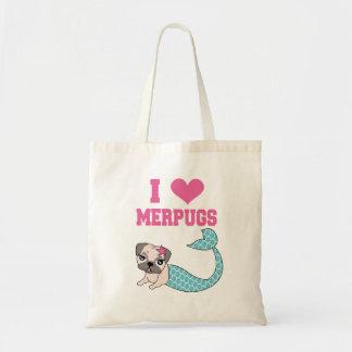 I Love Merpugs Mermaid Pug Totes Bag