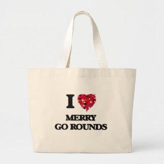 I Love Merry Go Rounds Jumbo Tote Bag