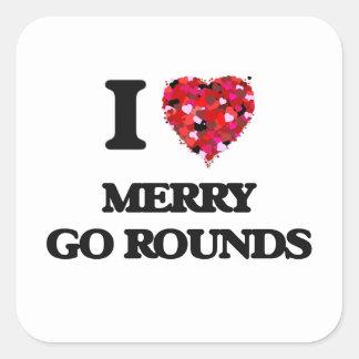 I Love Merry Go Rounds Square Sticker