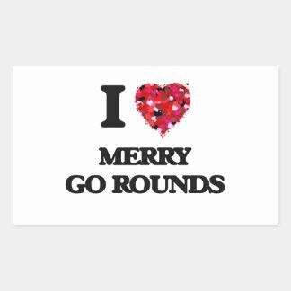 I Love Merry Go Rounds Rectangular Sticker