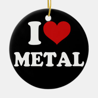 I Love Metal Double-Sided Ceramic Round Christmas Ornament