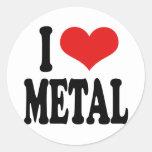 I Love Metal Round Stickers