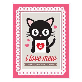 I Love Mew! by Origami Prints Valentine Postcard