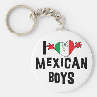 I Love Mexican Boys Basic Round Button Keychain