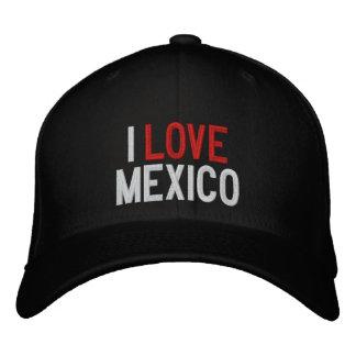 I LOVE MEXICO EMBROIDERED BASEBALL CAP