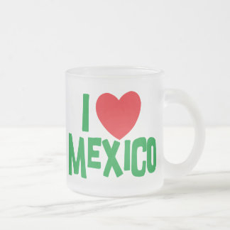 I Love Mexico Frosted Glass Coffee Mug