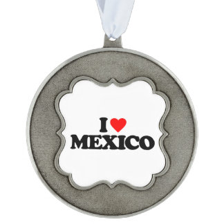 I LOVE MEXICO SCALLOPED PEWTER CHRISTMAS ORNAMENT