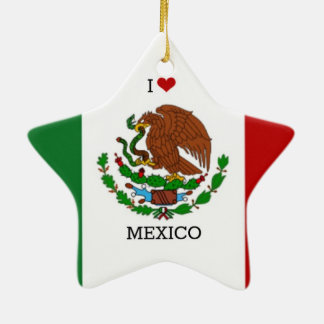 I Love Mexico, Mexican Flag Ceramic Ornament