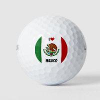 I Love Mexico, Mexican flag Golf Balls