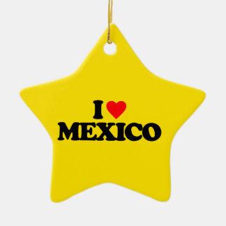 I LOVE MEXICO Double-Sided STAR CERAMIC CHRISTMAS ORNAMENT