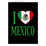 I love Mexico with flag heart Cards