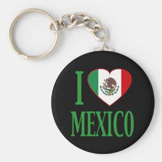 I love Mexico with flag heart Keychain