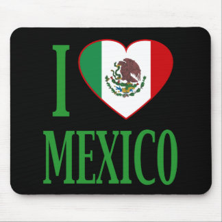 I love Mexico with flag heart Mouse Pad
