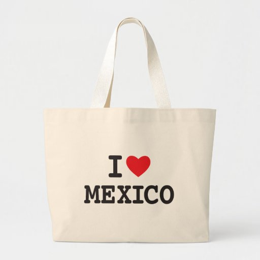 I love Mexico with heart Canvas Bags
