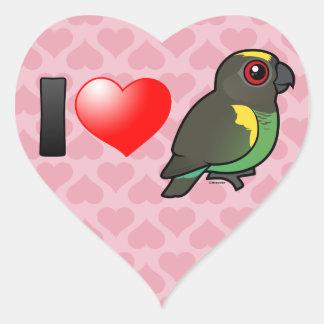I Love Meyer's Parrots Heart Sticker