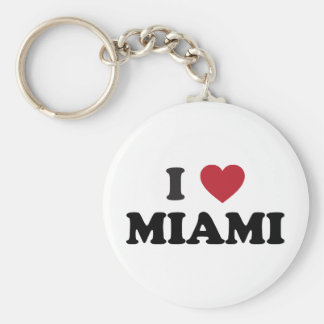 I Love Miami Florida Basic Round Button Keychain