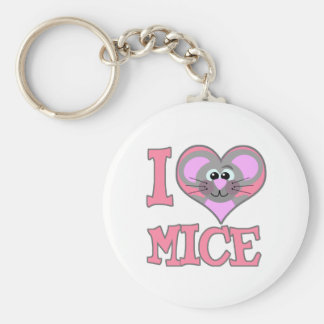 I Love mice Basic Round Button Keychain