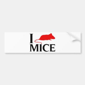 I Love Mice Bumper Sticker