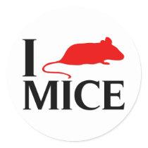 I Love Mice Classic Round Sticker