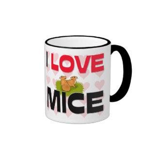 I Love Mice Ringer Coffee Mug